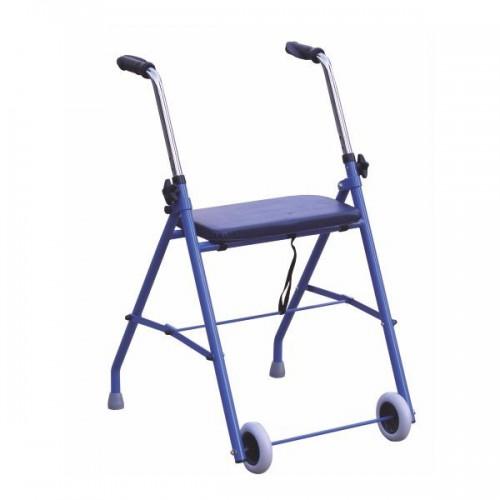 Andarilho em ferro com duas rodas e assento