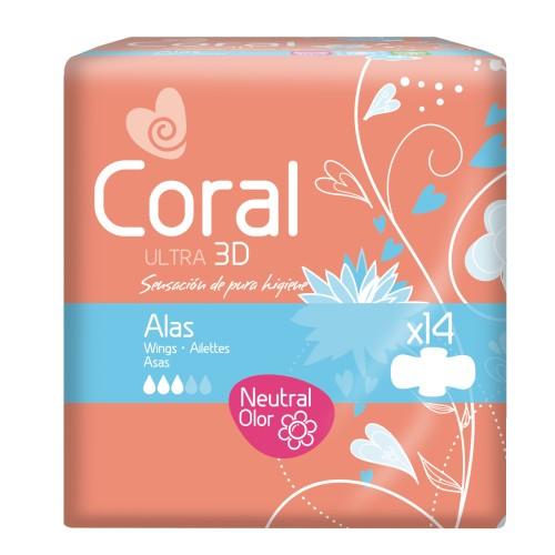 Pensos de Higiene Íntima Coral Ultra c/ abas e neutralização de odores