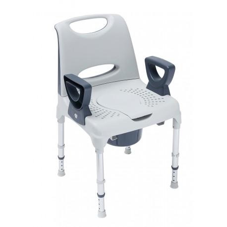 AQUATICA-Cadeira WC e Duche Fixa c/ Encosto, Regulável em Altura c/ braços amovíveis
