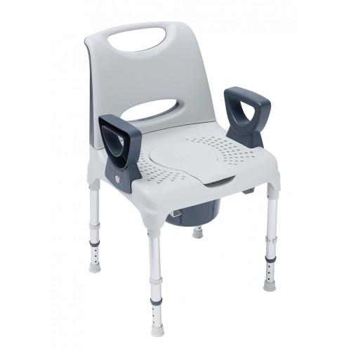 AQUATICA CONFORT-Cadeira WC e Duche Fixa c/ Encosto, Regulável em Altura c/ braços amovíveis