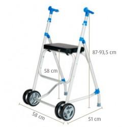 Andarilho de alumínio com duas rodas dianteiras e assento