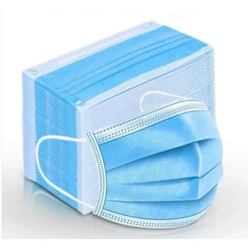 Máscaras Azuis de Proteção (3 camadas) c/ elásticos - Embalagens de 50 unidades