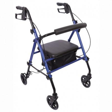 Andarilho com 4 rodas em Alumínio com travão e assento