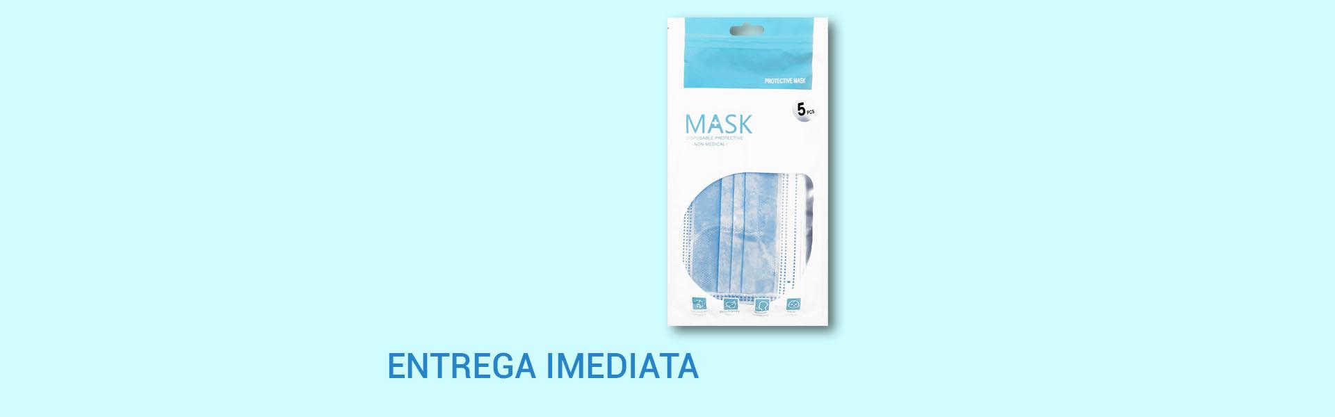 Embalagem de 5 máscaras descartáveis