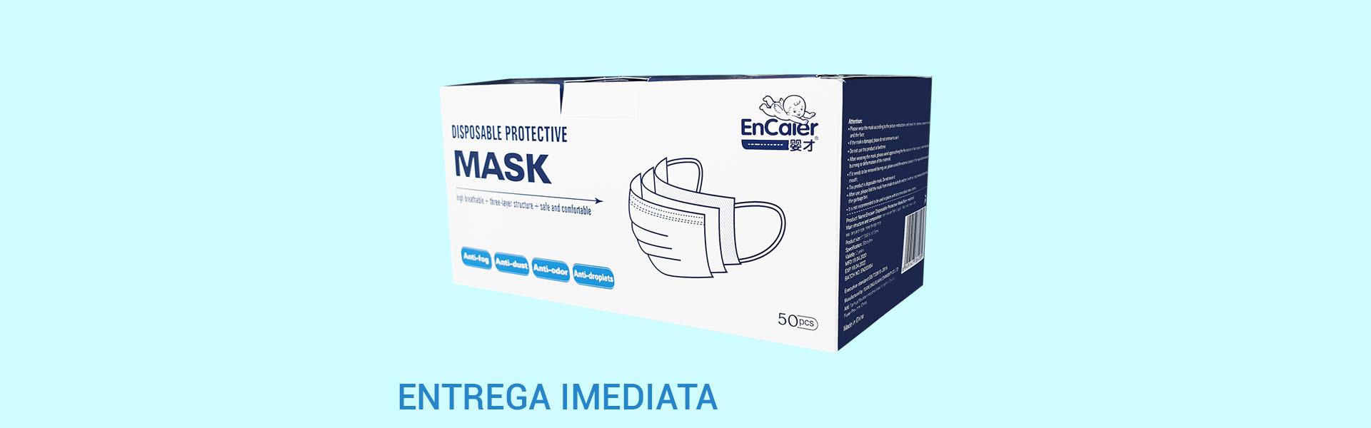 Máscaras Azuis de Proteção (3 camadas) c/ elásticos