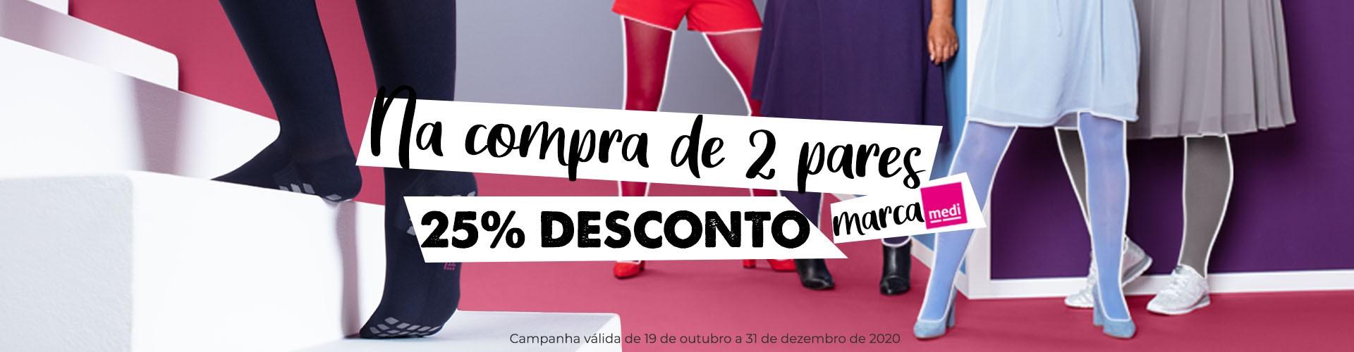 Campanha de Desconto (2 pares de meias de compressão medi com 25% de desconto)